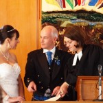 Signing the wedding schedule at Fort Augustus Church with the Rev Tabea Baader